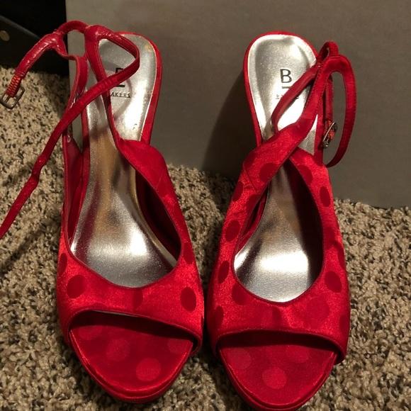 e0e689ed065 Adorable Red Satin Polka Dot Stilettos